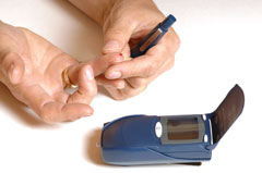 Blood glucose testing at home.
