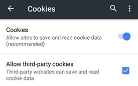 Android Cookie Settings