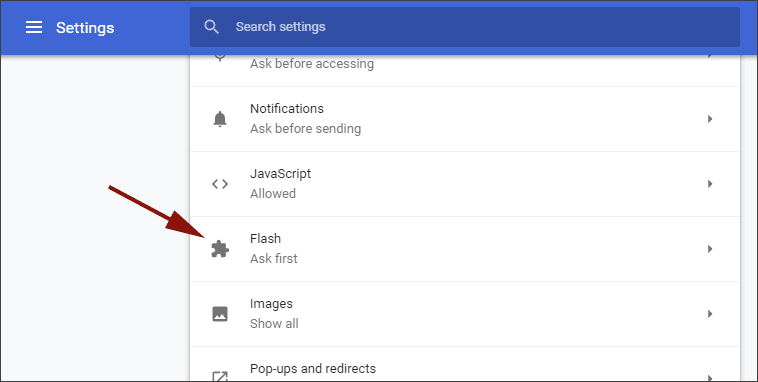 Chrome Flash Settings