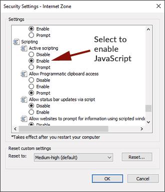 Enable JavaScript Internet Explorer