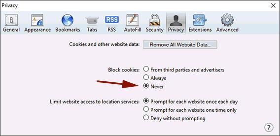 Safari Browser Cookie Settings
