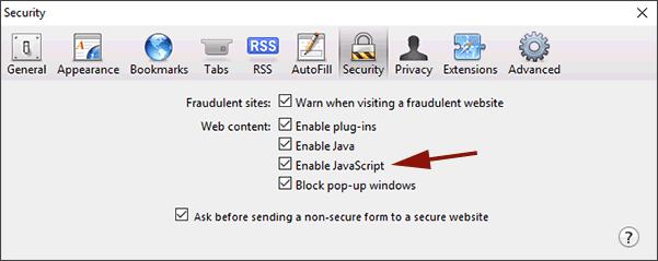 Enable JavaScript Safari